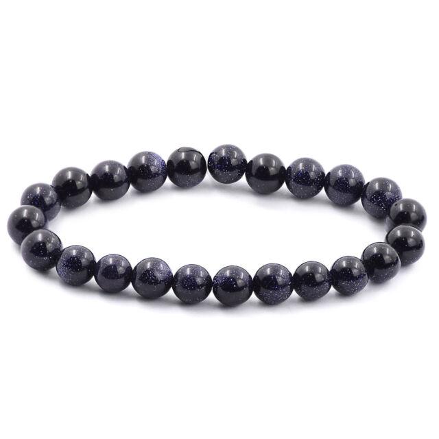 8MM Natural Blue Sandstone Stone Beads Unisex Stretch Bangle Bracelet Jewelry