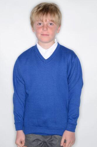 Boys Jerzees by Russell Schoolgear Kids V Neck Sweatshirt Blend Adult Crew Heavy