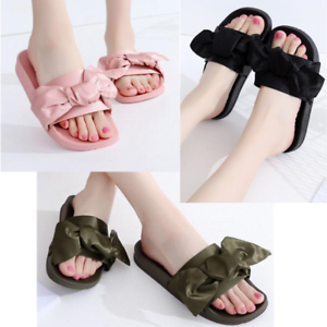 Ladies Bow Knot Casual Shoes Flip Flop Flat Summer Slippers Sliders Sandals UK