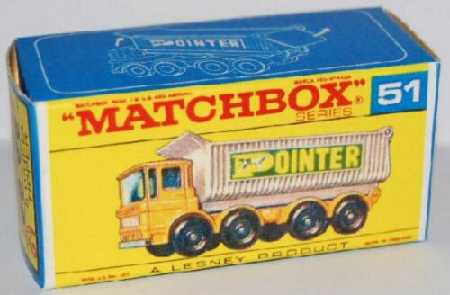 "Matchbox Lesney No 51 Leyland 8 Wheel /""Pointer/"" Tempty Repro style F Box"