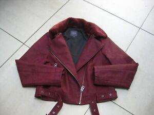 Ladies-NEXT-faux-leather-JACKET-UK-14-12-biker-flying-aviator-red-fur-collar