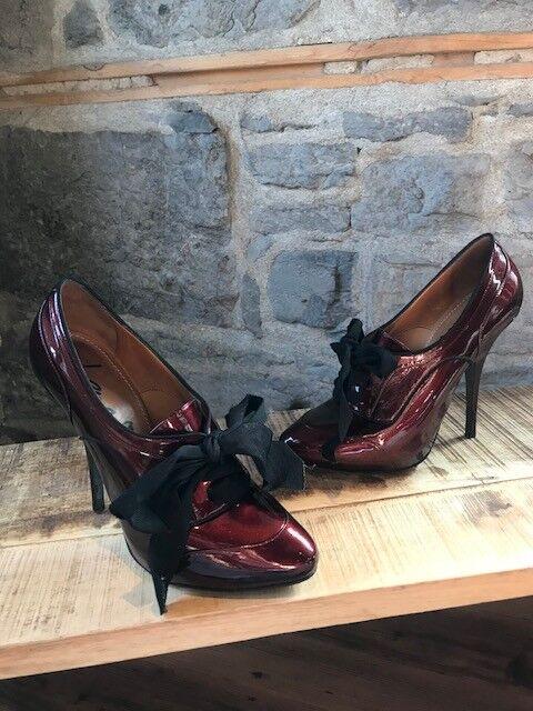 Lanvin Burgundy Lace-Up Pumps - Talla 39.5 IT - 9.5 US
