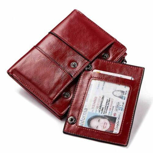Genuine Leather Women Wallet Female Red Color Coin Purse Small Walet Money Bag