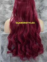 24 Burgundy Flip In Secret Clear Wire Hair Piece Extensions No Clip In/on