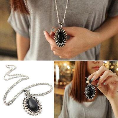 Moda Mujer Collar Gargantilla Cadena Colgante Cristal Negro Largo Vintage Regalo