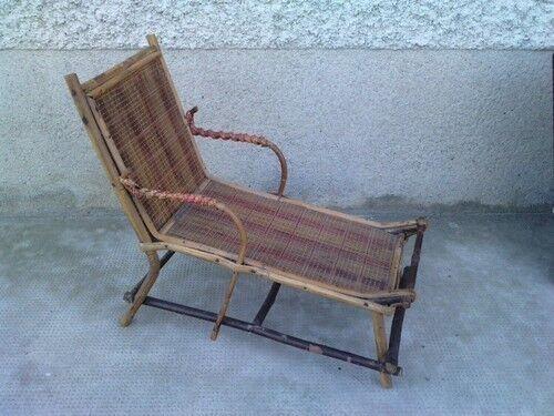 Chaise longue osier poupée jouet doll lounge chair toy