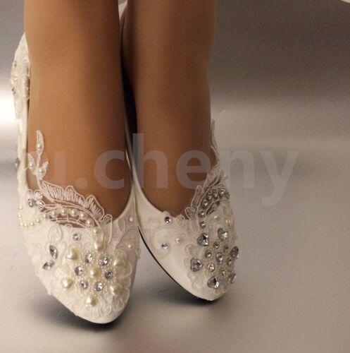Heart Ivory Rhinestone Flat Bruidsschoenen Lace cheny White Wedding Light Su Pearl YqBUTx