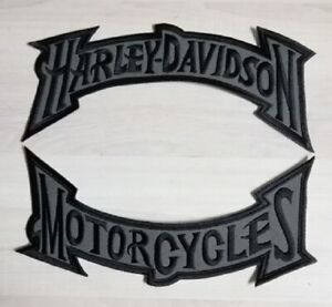 Harley-Davidson-Black-Grey-Muted-Rocker-Patch-Set-Large-Motorcycle-Biker