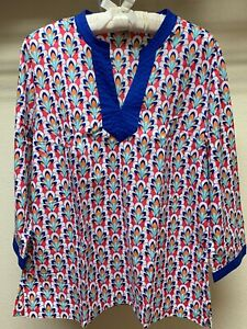 Talbots-Women-039-s-Size-M-3-4-Sleeve-Multi-Color-Top-Blouse-Medium-V-Neck-Cotton