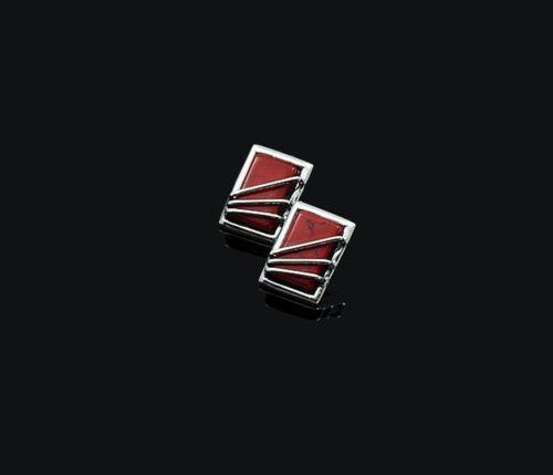 Genuine Sterling 925 Silver Ladies Women/'s Handmade Red Stud Earrings Gift Box