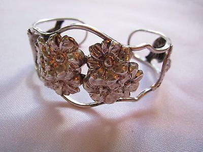 VTG Beau Sterling Silver Stamped Flower Cuff bracelet Signed
