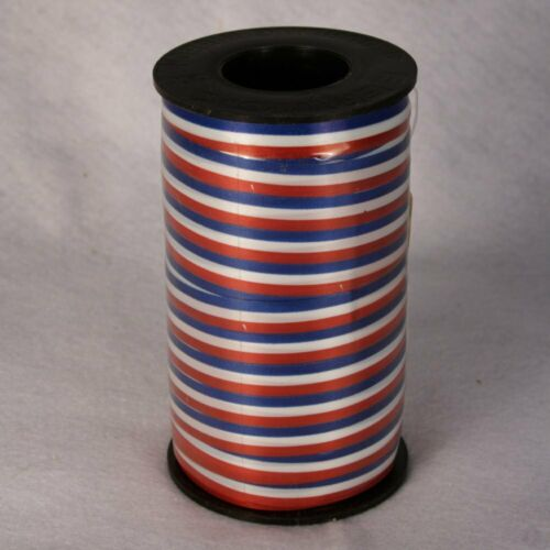 """Patriotic Red White Blue Curling Ribbon 3//8/"""" 250 Yards USA Made #01003800076C01"""