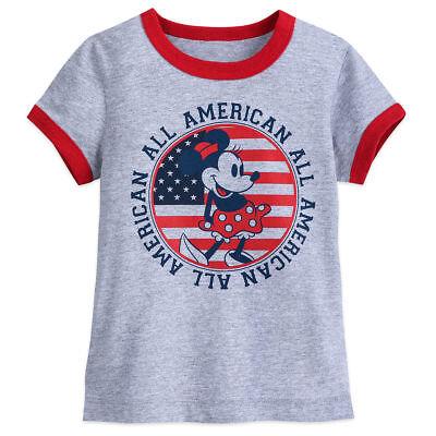Disney Store Minnie Mouse Americana T Shirt Girls Size 2//3 4 5//6 7//8 10//12 14