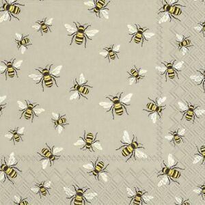 20-SERVIETTEN-NAPKINS-LOVELY-BEES-LINEN-25-X-25-BIENEN-HONIGBIENEN