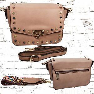 NEU,kleine Damen Handtasche,Kunstleder,Bag,Farbe in pink mit Nieten,NEU