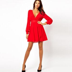 Elegante raffinato abito vestito donna scampanato corto rosso maniche 3989