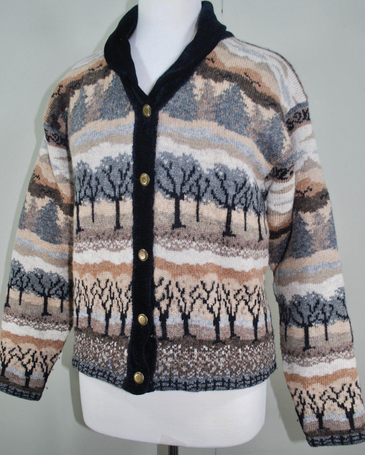 ICELANDIC DESIGN Wool Cardigan Sweater Women's M - Chenille Collar - Tree Print