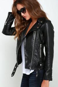 Real Jacket Lambskin Women's Genuine Biker Motorcycle Fit Leather Slim tPwOIO