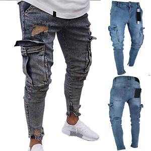 Men-Skinny-Ripped-Jeans-Pants-Denim-Frayed-Slim-Biker-Cargo-Pocket-Long-Trousers