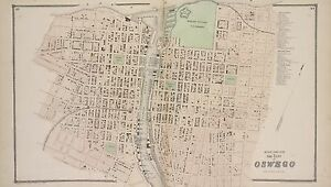 NEW YORK 1867 OSWEGO FORT ONTARIO MILITARY GROUNDS 1ST AV-13TH ST ATLAS MAP