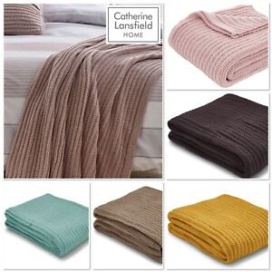Catherine-Lansfield-Chunky-Knit-Bedspread-Throw-5-Colours-Available-125cmx150cm