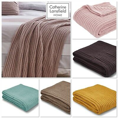 Afghans & Throw Blankets Well-Educated Catherine Lansfield Chunky Knit Bedspread/throw 5 Colours Available 125cmx150cm Home & Garden