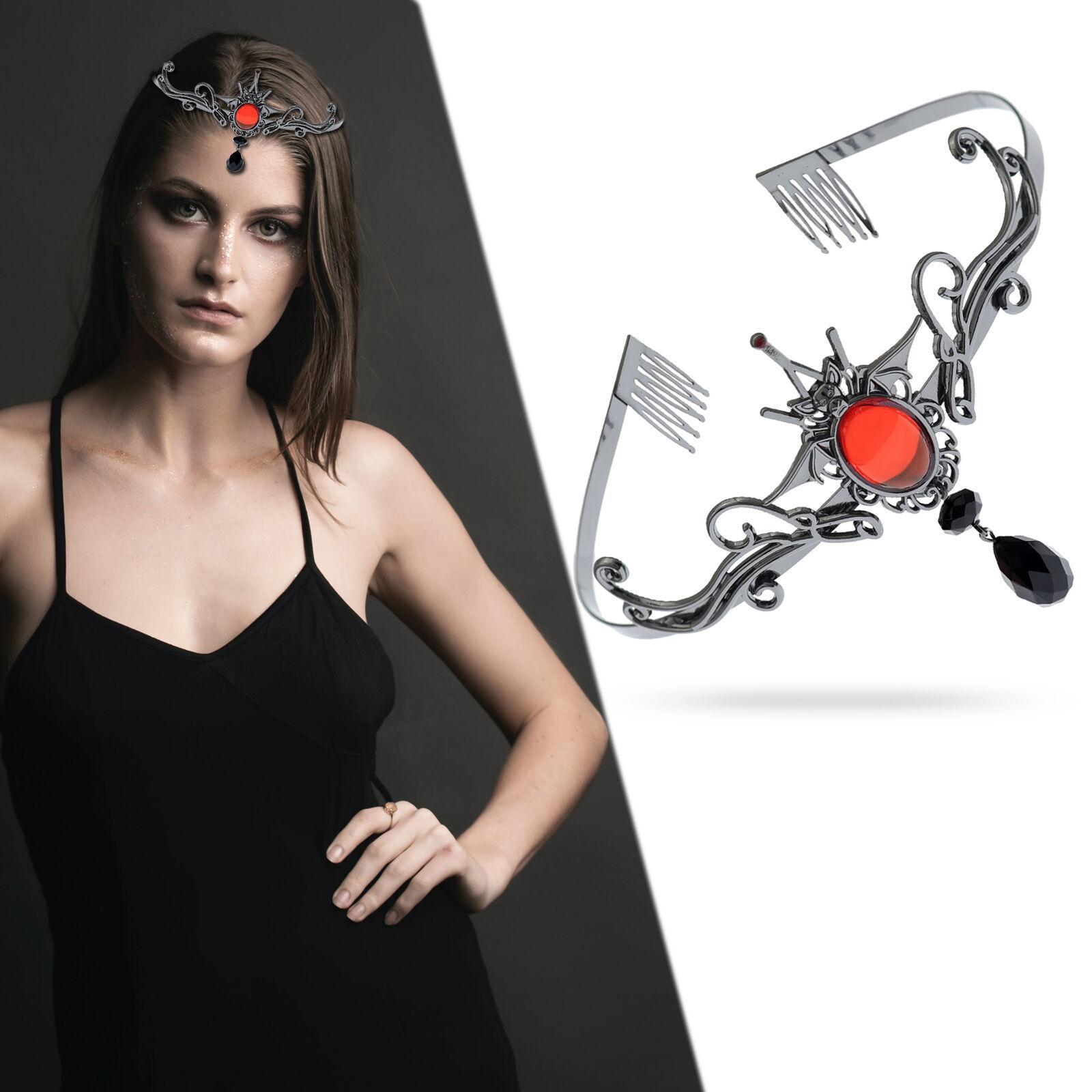 Halloween Vampire Black Bat Red Stone Headband Tiara Costume Crown Accessory