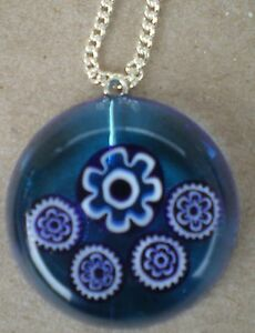 Oneoff blue resin and miliflori design  Round Pendant amp chain - Northolt, Middlesex, United Kingdom - Oneoff blue resin and miliflori design  Round Pendant amp chain - Northolt, Middlesex, United Kingdom