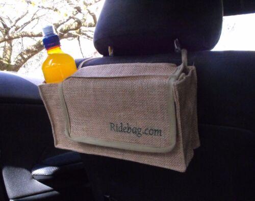 Ridebag Car Dog Tidy, Bowl, Bags, Wipes, Drink Jute Car Seat Bag Organiser