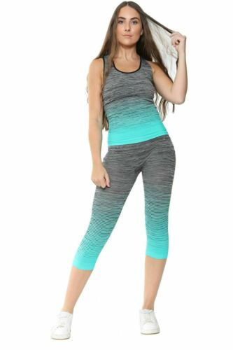 Ladies Vest Top /& Legging Gym Wear Set Women/'s Fitness Workout Sports Clothes