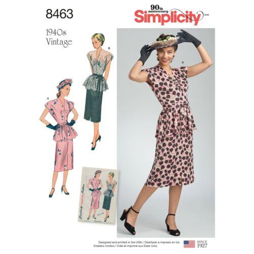 Peplum 8463 patrón de costura 40s cuarenta Estilo Vintage Vestido Retro Falda superior