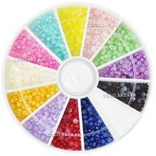 1200pcs 2mm Nail Art Adesivo Perle Strass Acrilico Gel UV Ruota Perla Colore #73