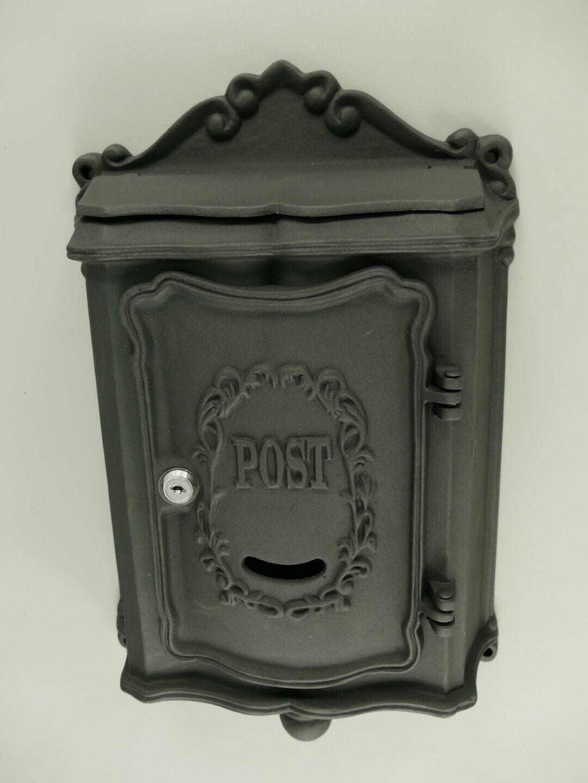 Briefkasten Wandbriefkasten rustikal schwarz Antik Stil Alu Guß H.51x B.30cm