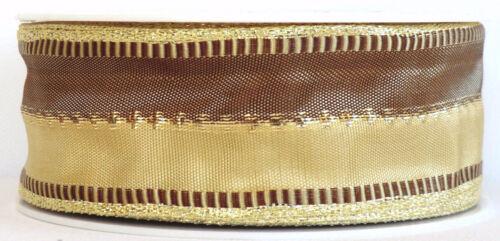 Schleifenband 20m x 40mm MAPI zweifarbig mit Goldkante Dekoband 3524 1m=0,30€