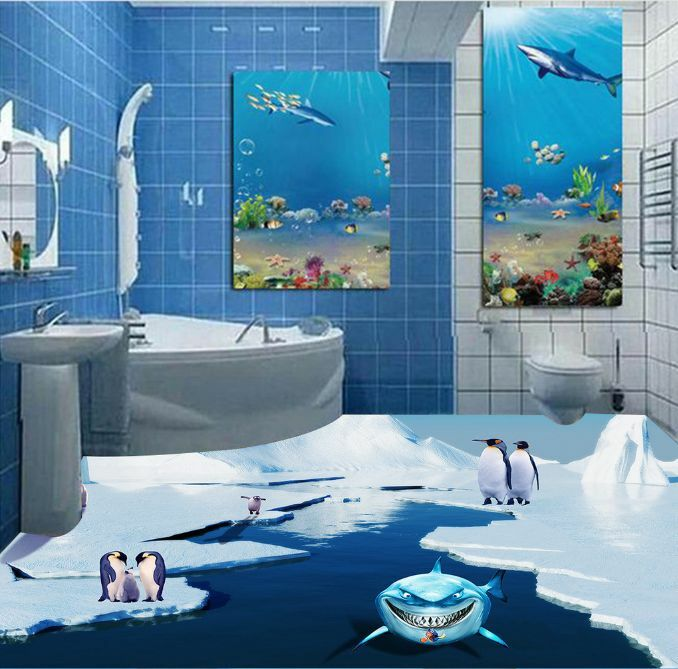 3D Penguin Iceflow Shark Floor WallPaper Murals Wall Print Decal 5D AJ WALLPAPER