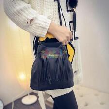 Women Girl Tassel Black Leather Shoulder Bag Handbag Messenger Tote Hobo Bag