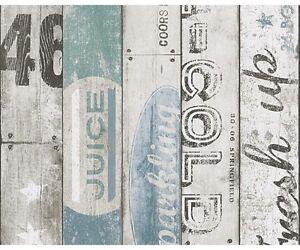 Carta da Parati per cucina | Legno Bar Blue alta qualità effetto ...