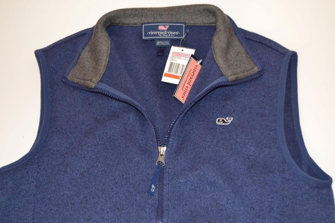 VINEYARD VINES SWEATER FLEECE FULL ZIP VEST NAVY Blau  Herren X SMALL XS