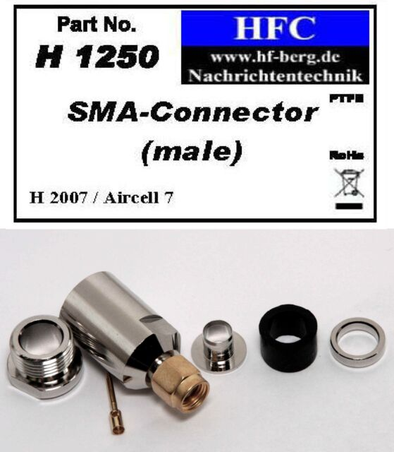 1 Stück SMA-Stecker für H 2007 / Aircell 7 / Highflexx 7 Koaxkabel 50 Ω (H1250)