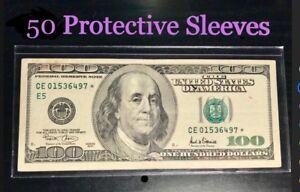 50-SEMI-RIGID-Vinyl-Money-Protector-Sleeves-US-Dollar-Bill-CURRENCY-HOLDERS-BCW