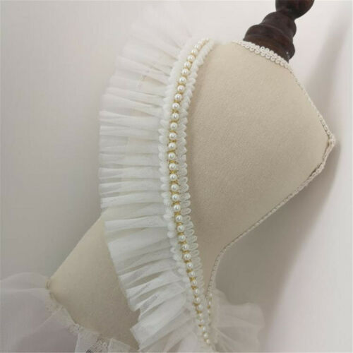 Ruffle Lace Trim With Pearl Skirt Dress Doll Collar Ribbon Sewing 6cm Width