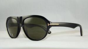 cc59d7d1a48 Tom Ford Ivan TF 397 01N BLACK Aviator Sunglasses Green ...
