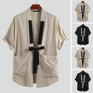 Hombres-Verano-Playa-Retro-Top-Kimono-japones-Cool-camiseta-Prendas-de-abrigo-Abrigo-Camiseta