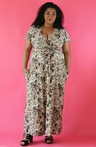 Details about Plus Size Snake Print Wrap Maxi Dress- 2X