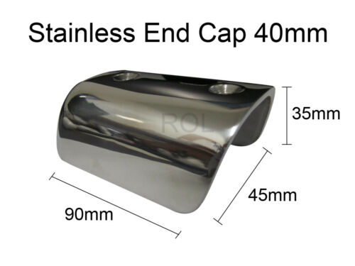 Free Freight !! Gunwale Gunnel 40mm End Cap x 2-316 Stainless Steel