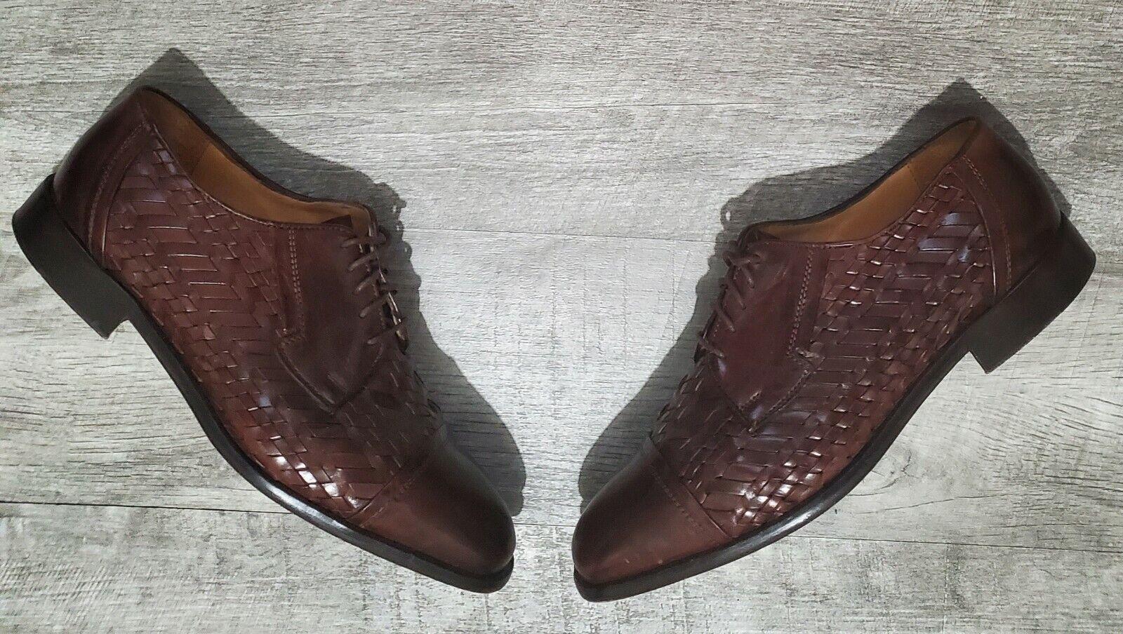 Johnston Murphy Cellini Woven Brown Leather Oxford Shoes Cap Toe Men's 10 M