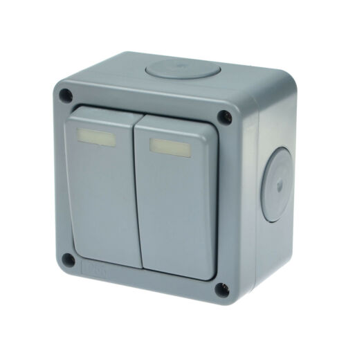 2 PK Waterproof Outdoor Garden 10A 2 Way Double Switch IP66 Weatherproof Switch