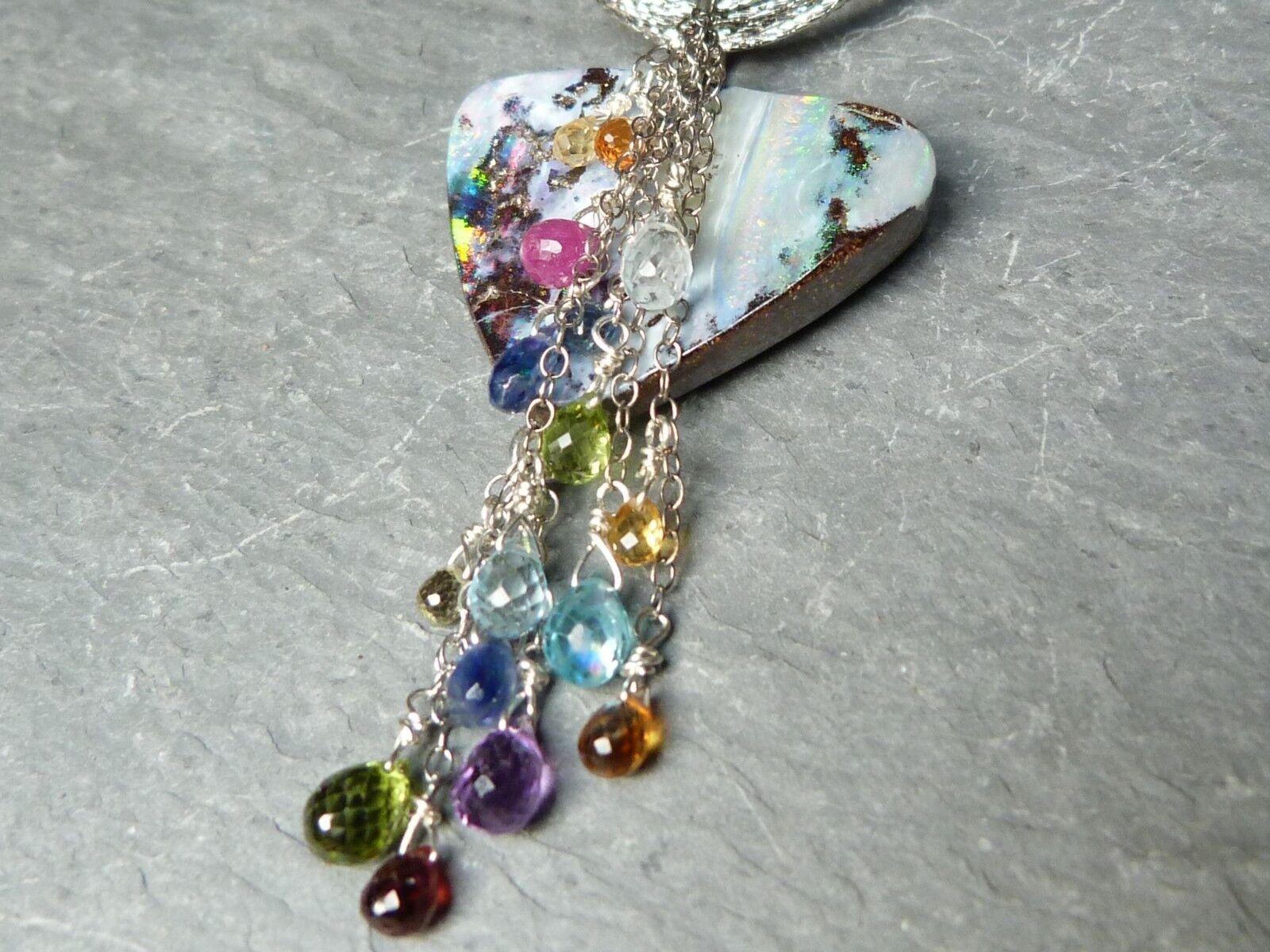 Collier Collier Collier pendentif en argento 925 avec 1 opale boulder et pierres précieuses 2cdac4