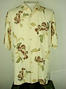 Tommy-Bahama-100-Silk-Floral-Shirt-Mens-Size-Medium-Short-Sleeve