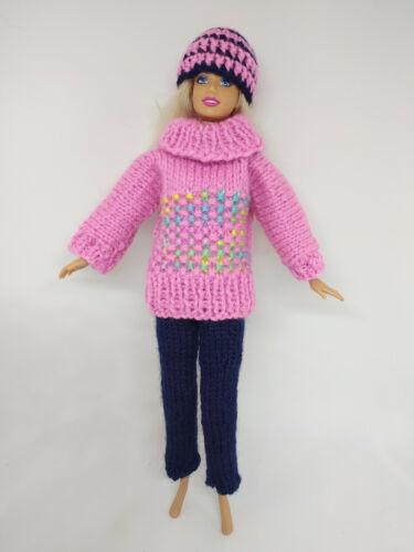 Puppenkleidung passend für Barbiepuppe Hose,Pullover Käppi Handarbeit